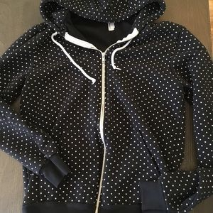 American Apparel polka dot zip up hoodie EUC